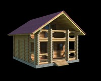 log wooden house 3d model
