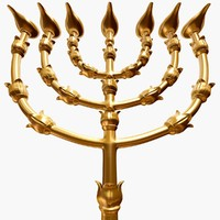 golden lampstand menorah 3d max