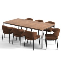 Minotti JORN TECNICO dining table modern contemporary chair set designers metal