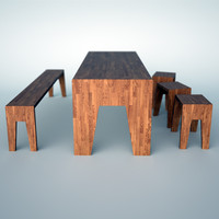 wooden table bench 3d 3ds