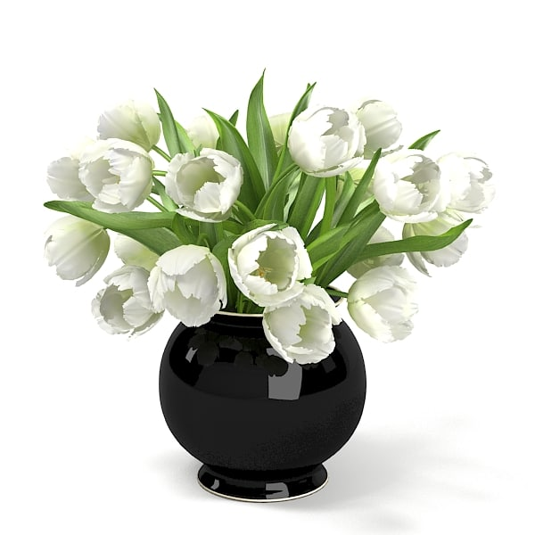 WHITE Tulips Bouquet In The Vase ELEGANT ACCESSORY HOME DECOR ENERANCE.jpg