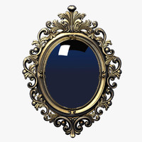 3d model frame baroque oval