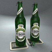 bottles tuborg green beer cap 3d model