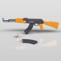 3d model ak-47 assault rifle ak