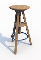 wooden bar stool 3d dxf