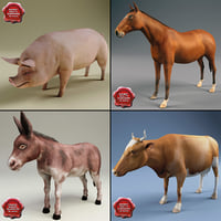 farm animals 3d model