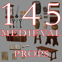 145 Medieval Props, Low Poly
