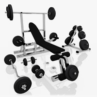 3d realistic exercise machine bench press model