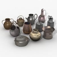 3d model metal pots