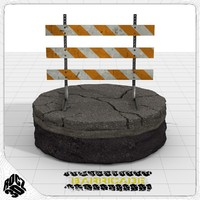 3d type iii construction barricade model