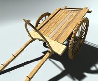 wooden cart 3d model