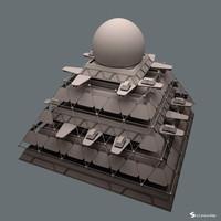 3d model futuristic pyramid