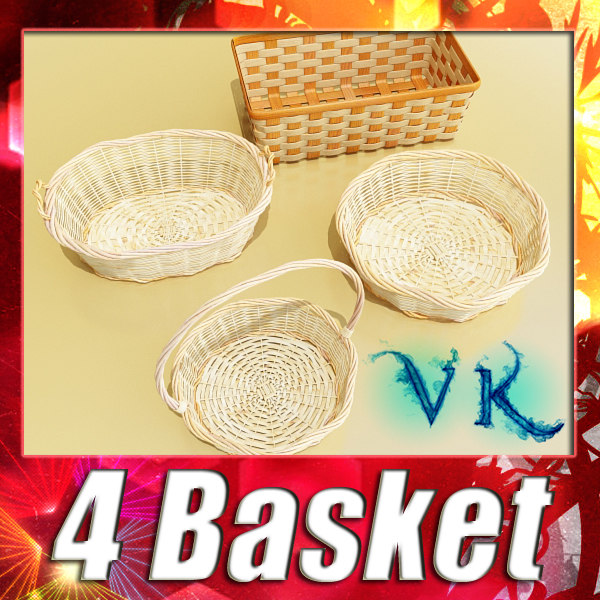 4 Wicker Basket Collection + High Resolution Textures