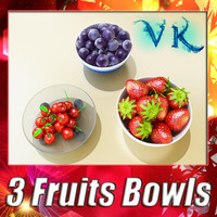 3 Fruits + Bowls + High Resolution Textures