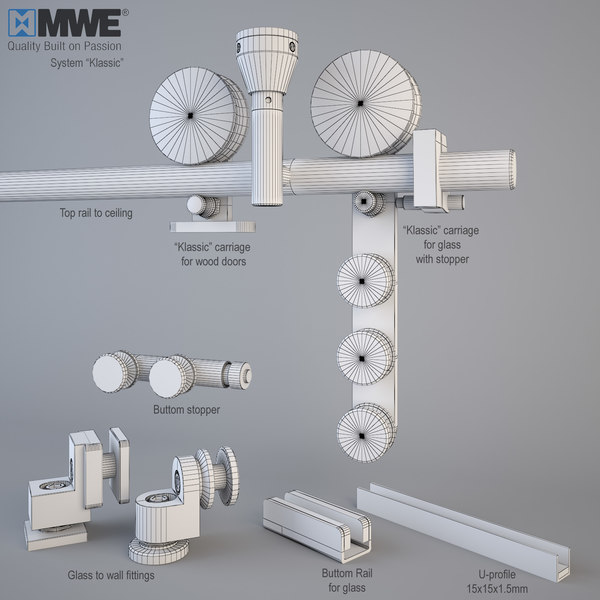 glass sliding doors mwe 3d model - MWE