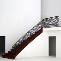 stairs wrought iron railing 3d dxf