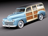 3ds max 1948 woody wood station wagon