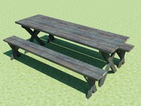 picnic table benches 3ds