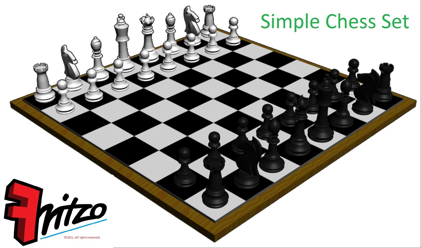3d model of simple chess set board - Simple chess set ...
