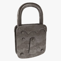 3d model of padlock lock pad