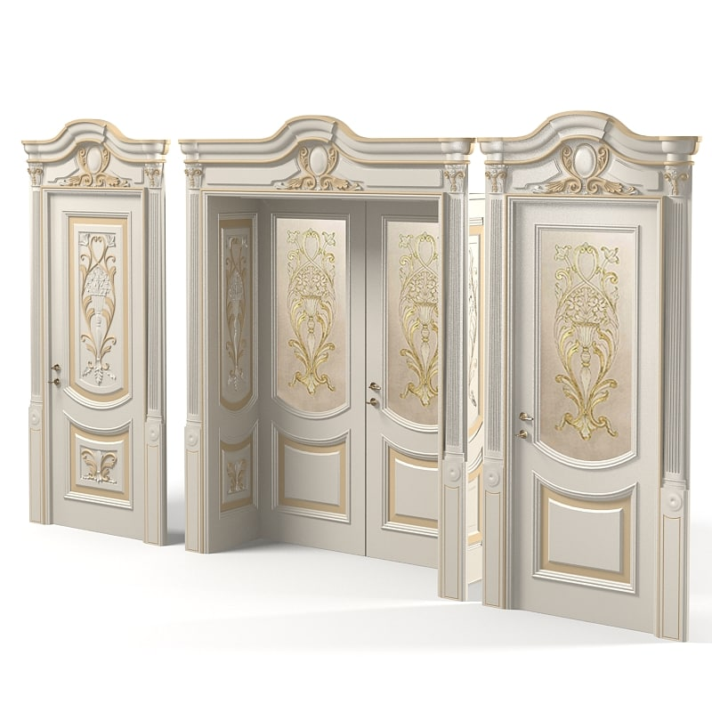 Newdesignporte Luigi VXI Luxury Classic baroque carved door double glass  door.jpg