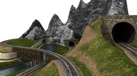 train set environment 3d model