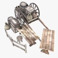 3d model of medieval crates barrel