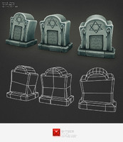 Low Poly Grave Stone 02