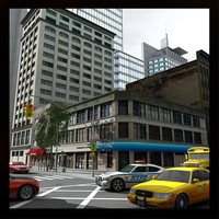 nyc buildings street 3d obj