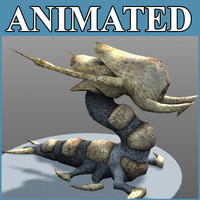 Low Poly Animated Fantasy Wurm