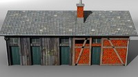 3d model storage building railway