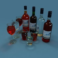 red wine bottles wineglass 3d max