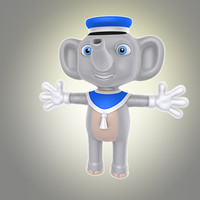 3d simple cartoon elephant model