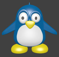 3d model cartoon blue bird