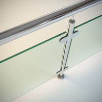 Steel railing with glass (type 3)