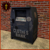 3d model of clothes bank outdoor
