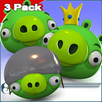 angry character 3 pack 3d model