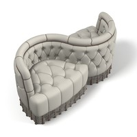 Courting S shape curved fufted sofa public modern contemporary