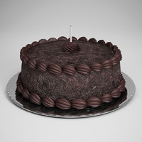 CGAxis Chocolate Cake with Candle 12