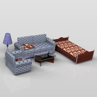 3d model bedroom bed