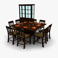 3d dining table dish cupboard model