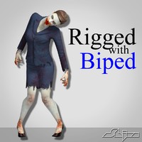zombie female character rigged biped 3d model