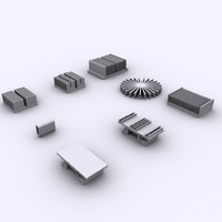 8 heatsinks computers 3ds