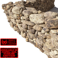 Stone Wall 12 - Dirty Tan 3D Stone Wall
