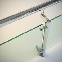 3d steel railing glass model