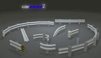 free pack guardrails modular games 3d model