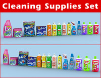 cleaning supplies set 3d obj