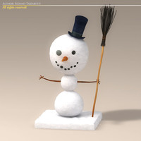 3ds max cartoon snowman snow