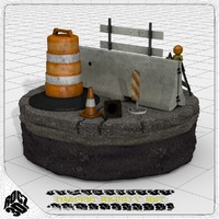 3d model traffic construction safety set