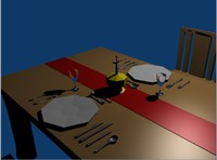 dinner scene table chairs 3ds